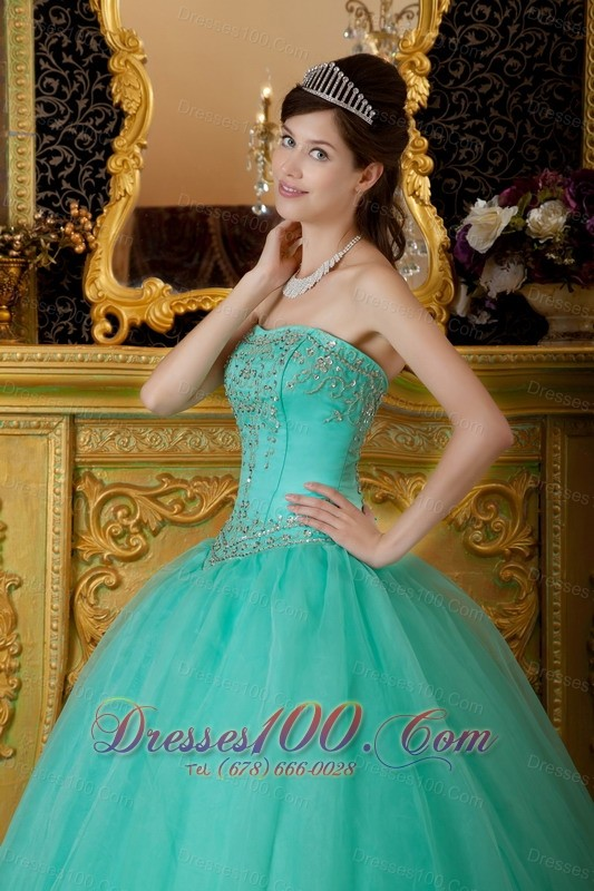 Strapless Turquoise Quince Dresses Organza Beading Affordable