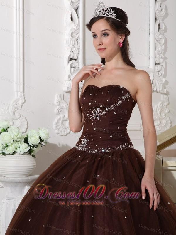 Rhinestones Chocolate Quinceanera Dress Tulle Plus Size