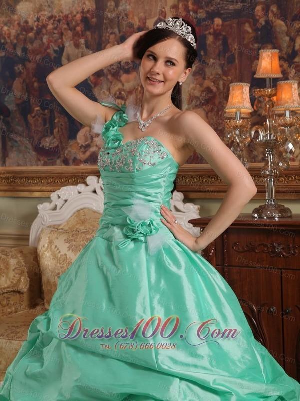 One Shoulder Apple Green Quinceanera Dress Flowers Taffeta