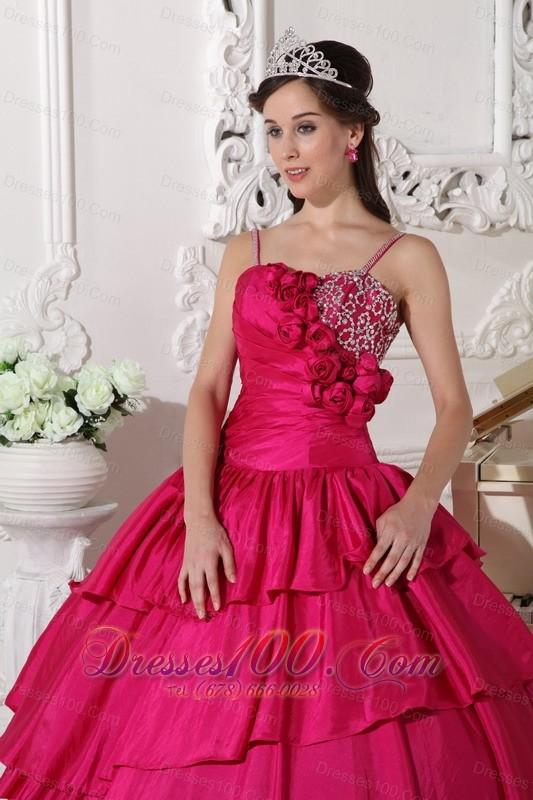 Straps Hot Pink Taffeta Beading Quinceanera Dress