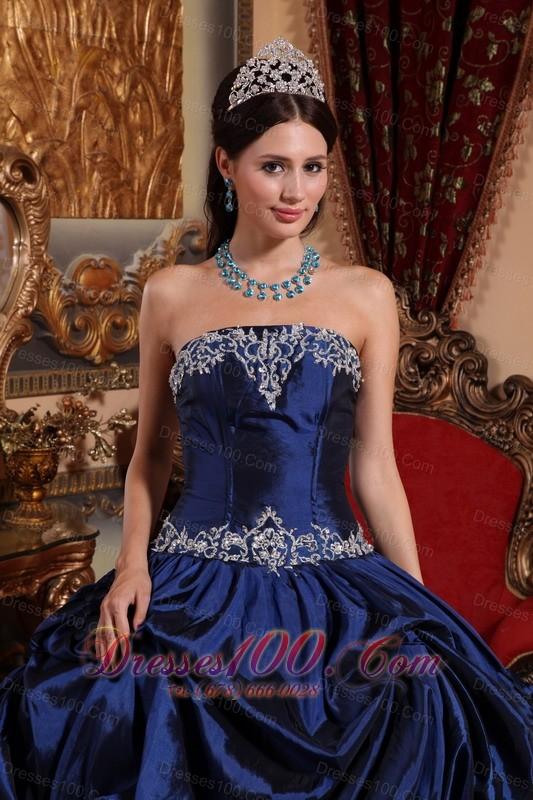 Blue Taffeta Beading With Pick-ups Quinceanera Dress