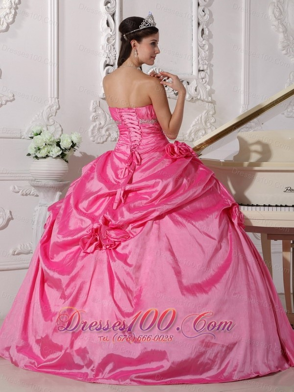 Hot Pink Sweet sixteen Dresses Beading and Flowers