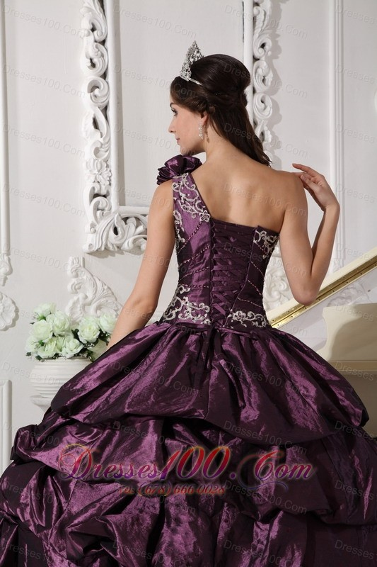 Appliques and Pick-ups Dark Purple Dresses 15 One Shoulder