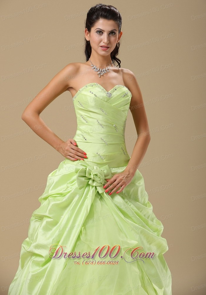 Yellow Green Folwers and Ruching Dress for Quinces
