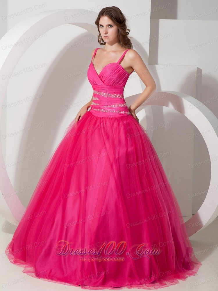 Spaghetti Straps Hot Pink Tulle Beading Dresses Of 15