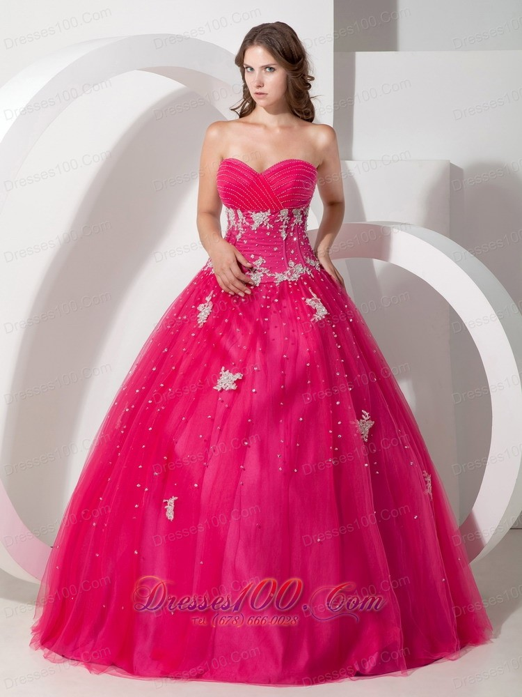 Coral Red Tulle Appliques and Beading Dress for Quinceaneras