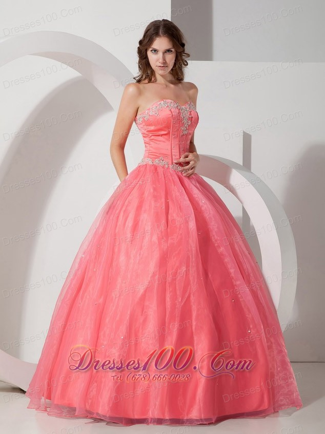 Satin and Organza Appliques with Beading Quinceanera Dress