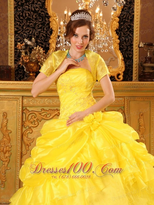 Yellow Quinceanera Dress with Jacket Organza Appliques