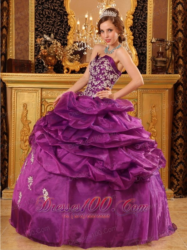 Fuchsia Appliques and Beading Quinceaneras Dress Organza