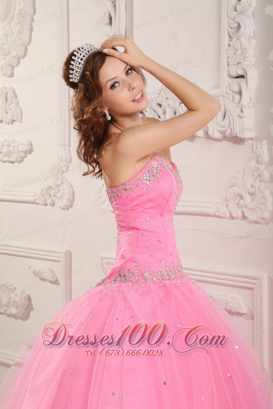 Rose Pink Dresses for A Quince Tulle Beading Appliques