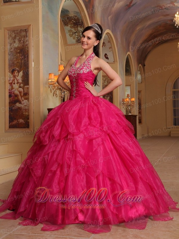 Organza Embroidery Halter Hot Pink Sweet sixteen Dresses