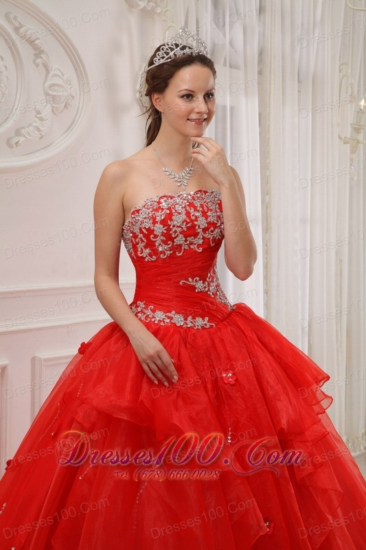 Red Ball Gown Quinceanera Dress Taffeta and Organza Appliques