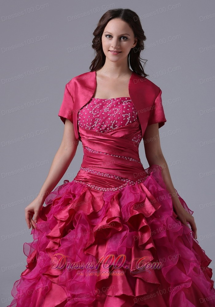 Ruffled and Beaded Decorate Fuchsia Ball Gowns With Ruch