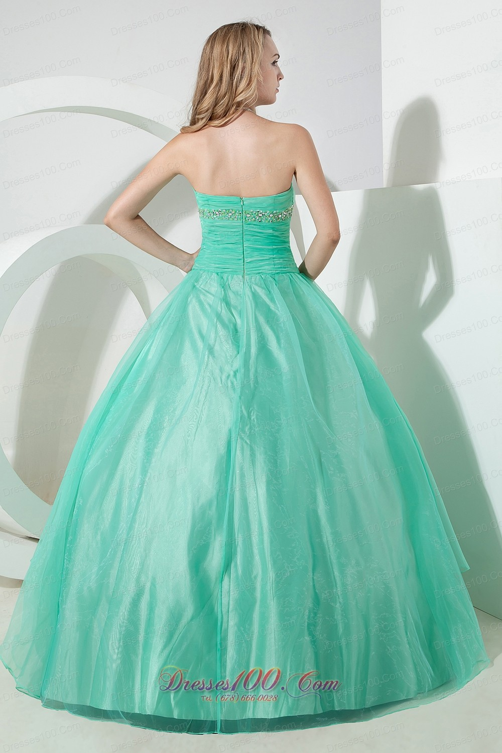 Beading and Embroidery Turquoise Organza Quinceanera Dress