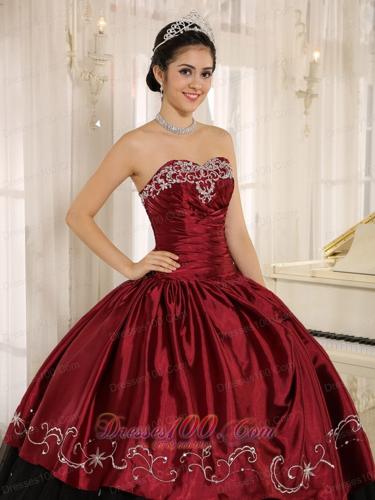 Beaded and Embroidery Decorate Wine Red Quinceanera Dress