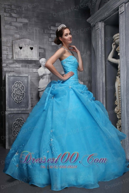 Strapless Organza Appliques Baby Blue Dress for Quinceaneras