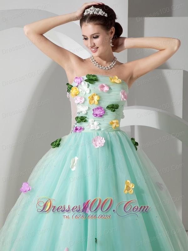 Apple Green A-line Quincianera Dresses Hand Made Flowers