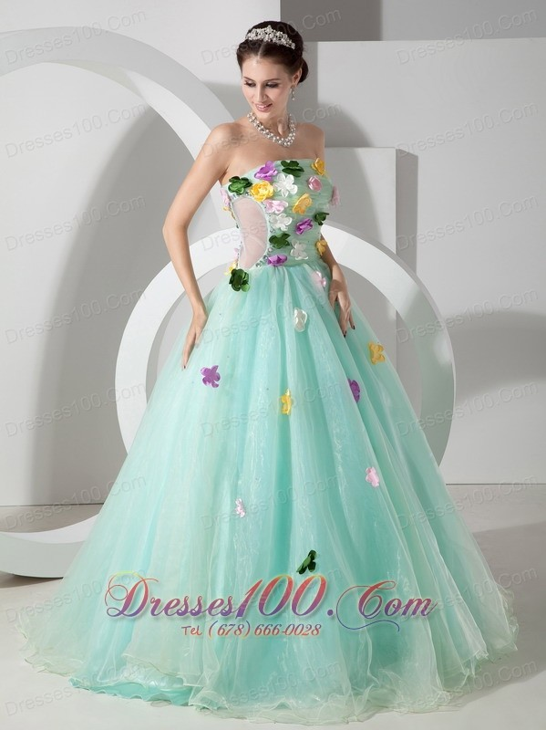 Apple Green A-line Quincianera Dresses Hand Made Flowers