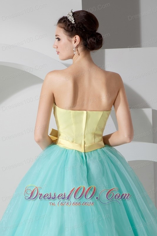 Aqua Blue and Yellow Sash and Ruch Organza Quince Dresses