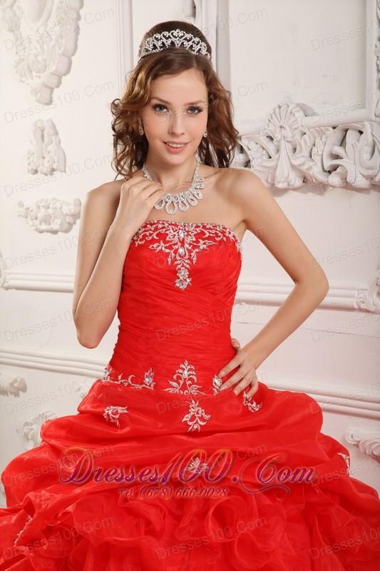 Affordable Red Organza Ruffles Sweet 16 Dress