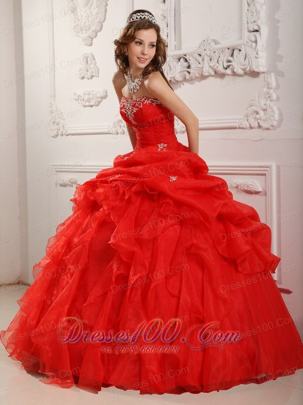 Affordable Red Organza Ruffles Sweet 16 Dress