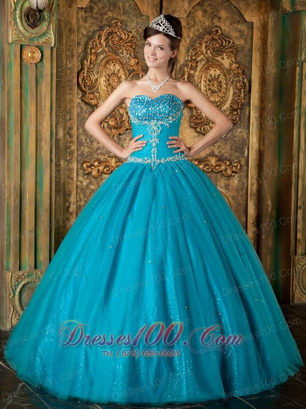 Teal A Line Tulle Beading Quinceanera Gown