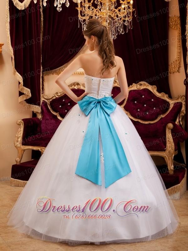 2013 White Satin Sash Beading Quinceanera Gown