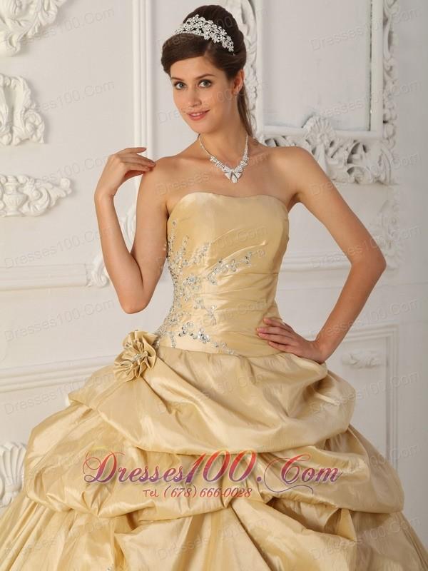 Cheap Champagne Flowers Taffeta Pick-Ups Quinceanera Dress
