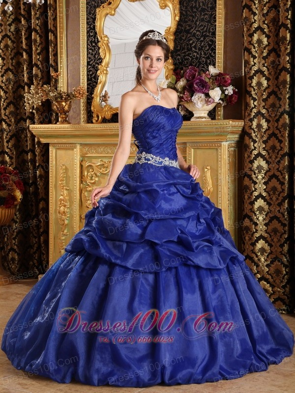 Discount Royal Blue Appliques Sweet 16 Dress