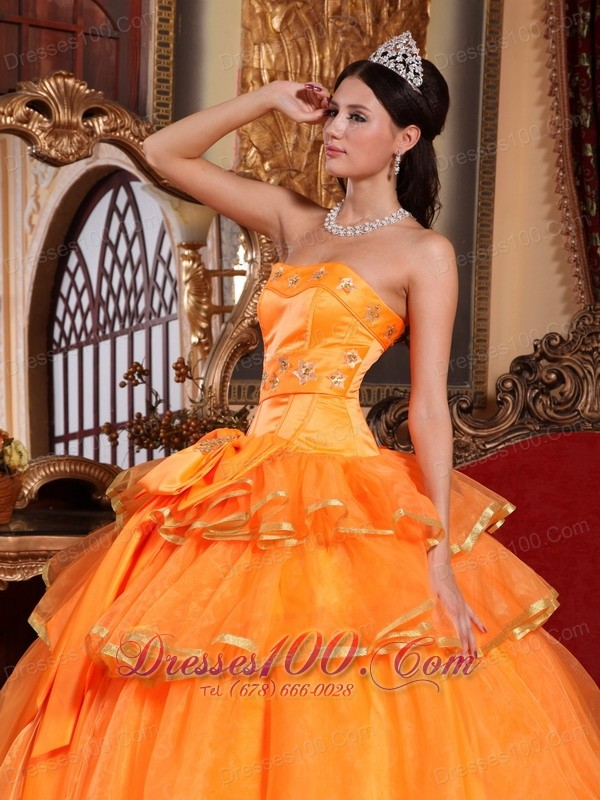 Orange Quinceanera Dress Ruffles Organza Bow 2013