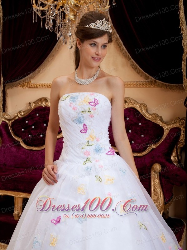 Exquisite Appliques Organza White Sweet 16 Dress