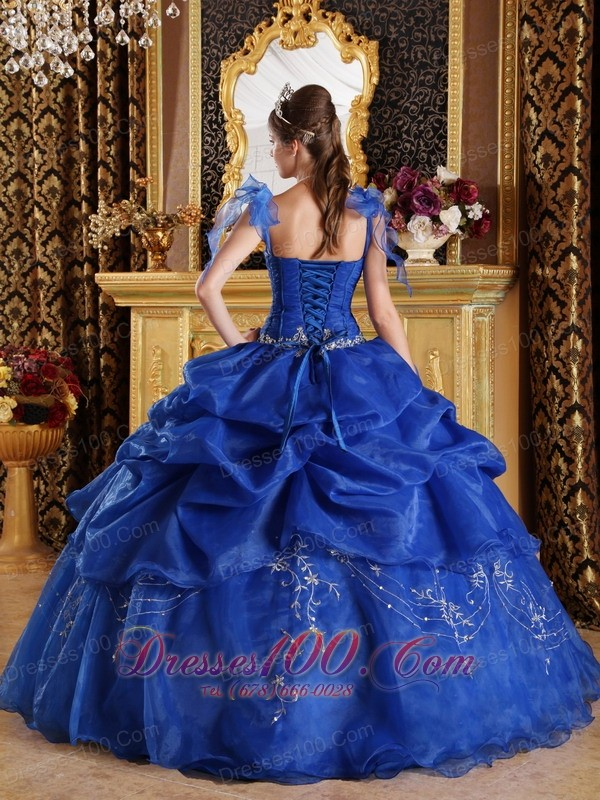 Spaghetti Straps Blue Flowers Organza Sweet 16 Dress
