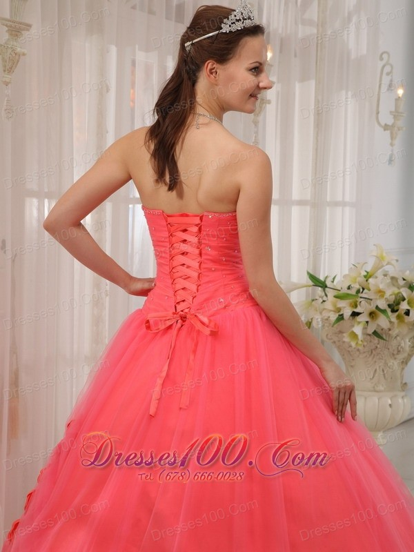Watermelon Red Beading Quinceanera Dress Flower Tulle
