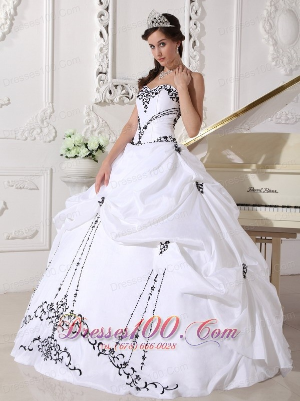 White Taffeta Black Embroidery Beading Sweet 16 Dress |New Style ...
