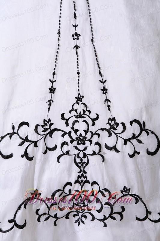 White Taffeta Black Embroidery Beading Sweet 16 Dress
