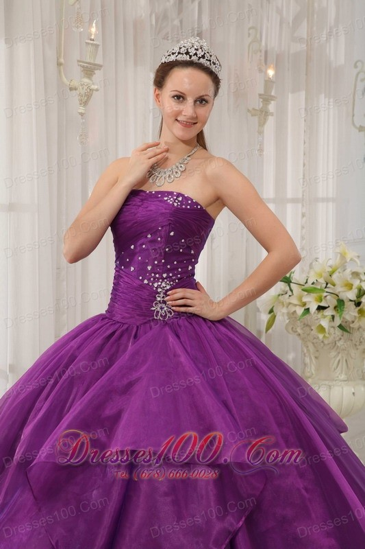 Low Prince Purple Beading Organza Sweet 16 Dress