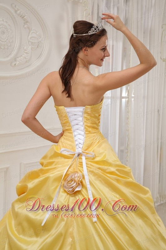 For Sale Yellow and White Flower Sweet 16 Dress