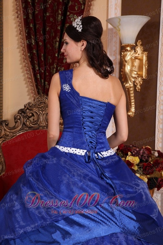 Royal Blue One Shoulder Hand Made Flower Quinceanera Dress