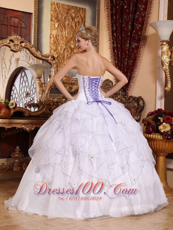 White Hand Flowers Organza Strapless Quinceanera Dress