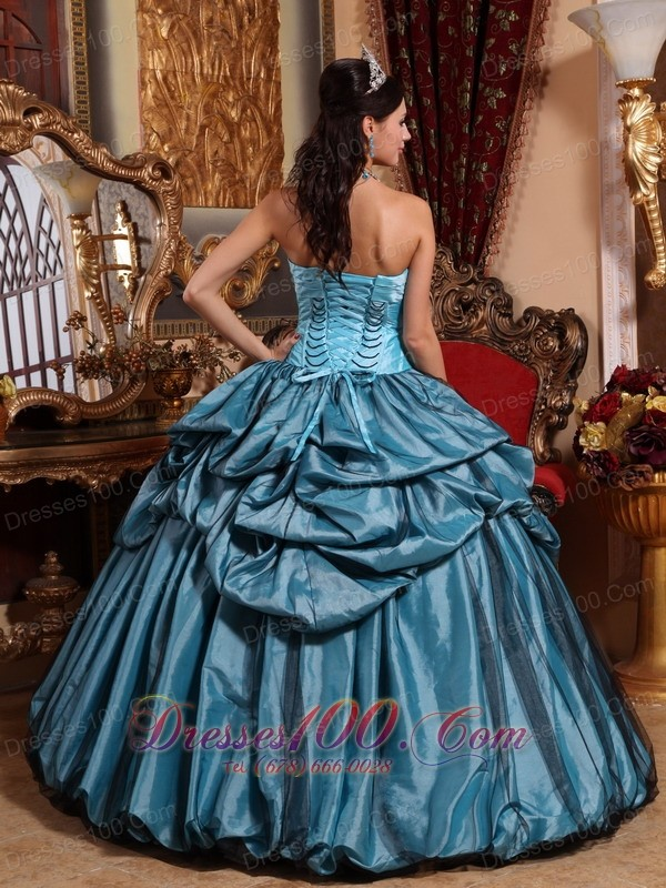 Blue Hand Made Flower Taffeta Quinceanera Dress Pick-ups