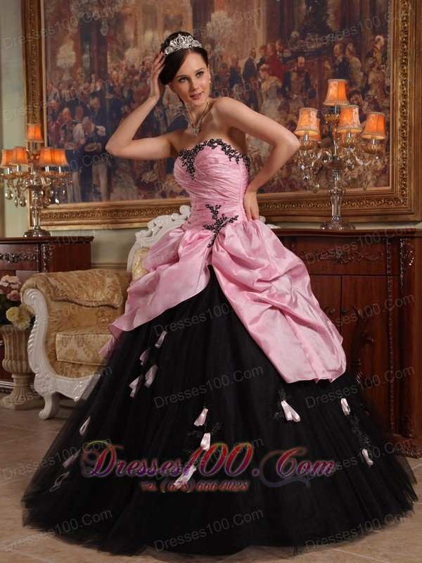Rose Pink and Black Hand Flowers Dress for Quinceanera