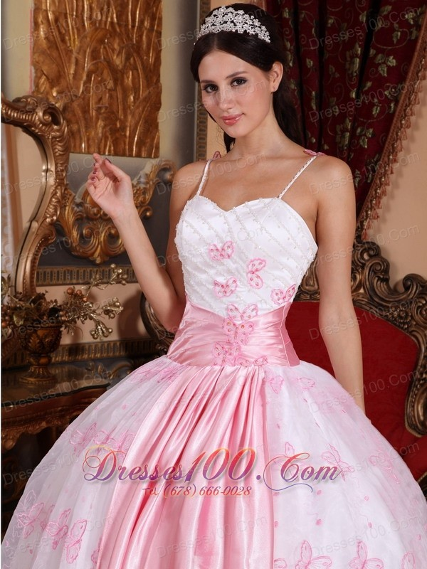 Pink Spaghetti Straps Sash Embroidery Dress for Quinceanera