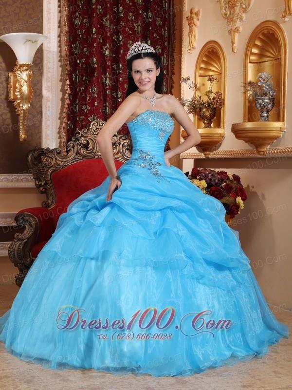 Aqua Blue Organza Beading Pick-ups Strapless Quinceanera Dress
