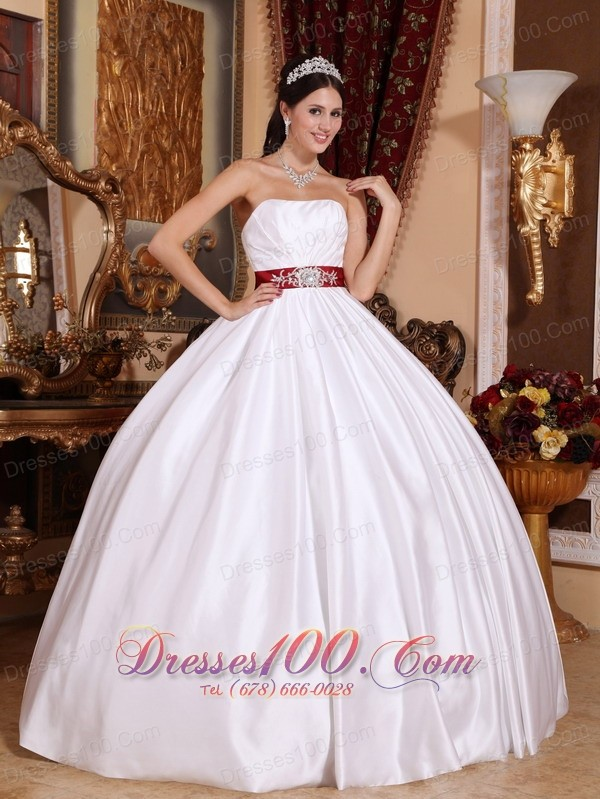 White Taffeta Red Sashes Floor-length Quinceanera Dress