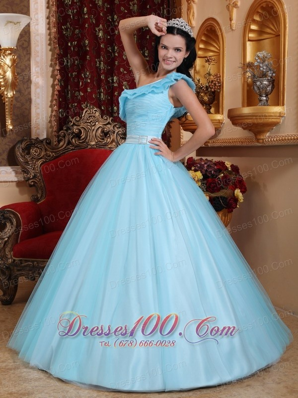 Light Blue Quinceanera Dress Floor-length One Shoulder