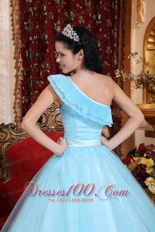Light Blue Quinceanera Dress Floor-length One Shoulder