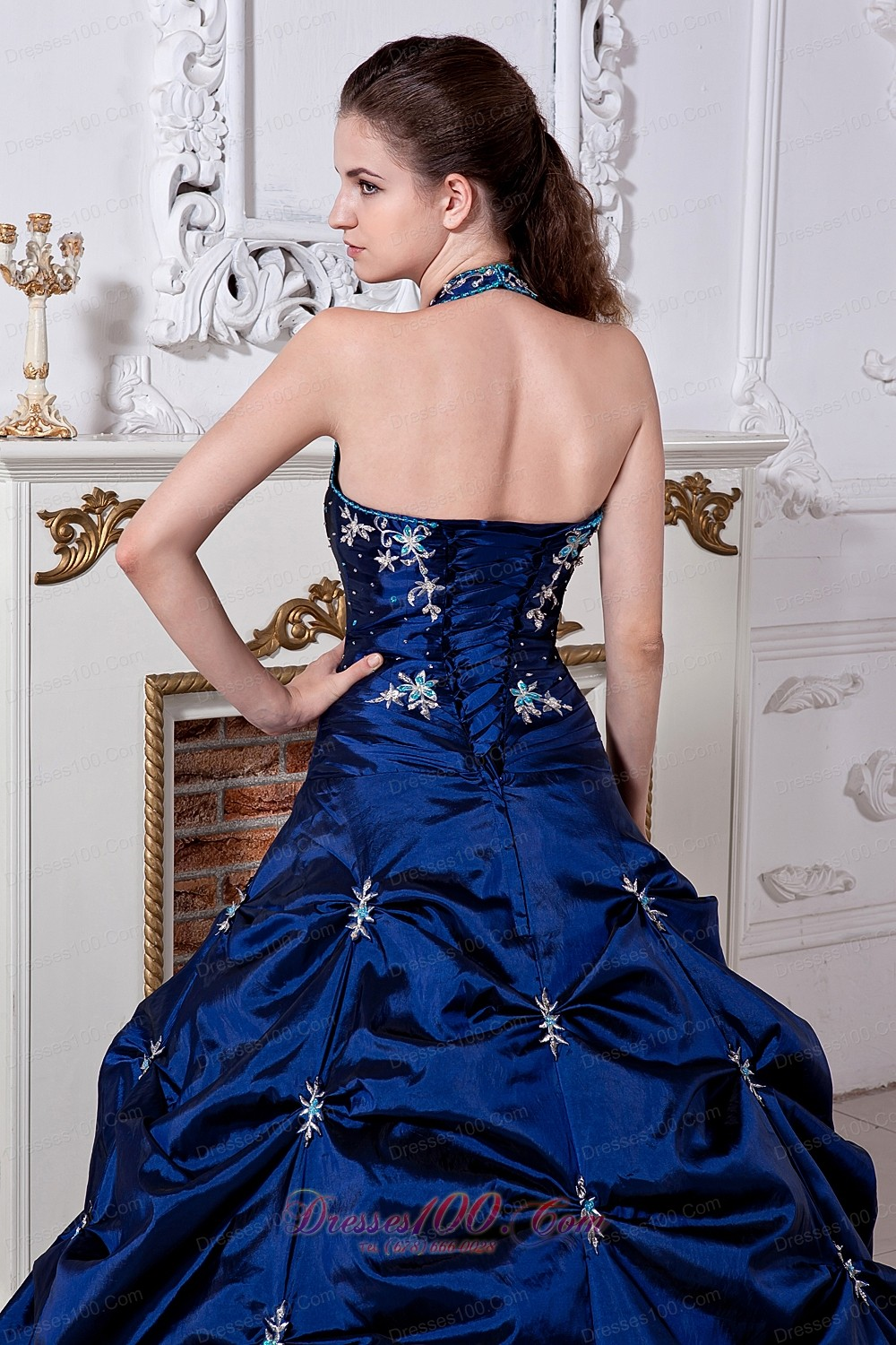 Royal Blue Halter Embroidery Floor-length Quinceanera Dress