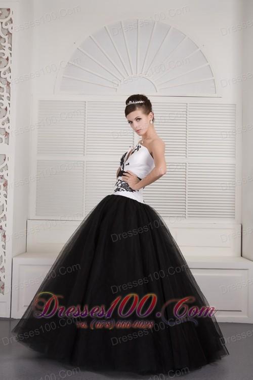 Black White V-neck Embroidery Floor-length Quinceanera Dress