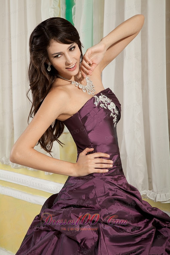 Dark Purple A-line Appliques Strapless Quinceanera Dress