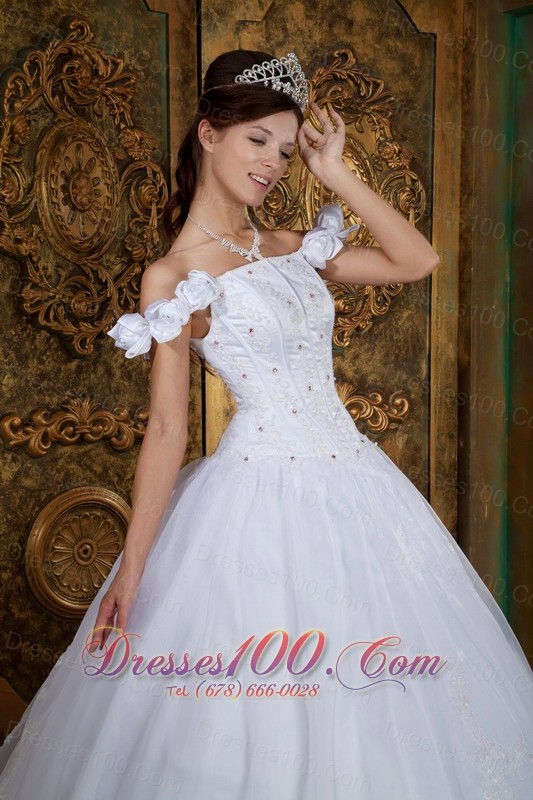 White Sweet 16 Dress Off The Shoulder Organza Appliques